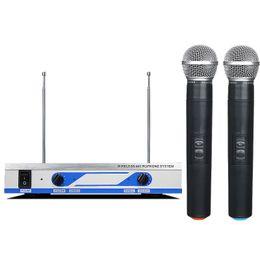 Ricevitore audio tv online-MV-1800 VHF doppio microfono wireless con ricevitore in metallo Trasmettitore per scheda audio registrazione in studio Box TV Mixer audio Altoparlante per computer