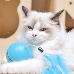 gato llevó la pluma Rebajas Juguete del gato interactivo Rolling Ball divertida del gato LED de la bola de los juguetes eléctricos automáticos pluma reemplazable alimentos para mascotas 2019 Nuevo