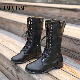 2019 gefesseltes leder LALA IKAI Frauen Winter Cross-Tied Ankle Boots Pu-Leder Lace-up Plus Size Schuhe Weibliche Wasserdichte Plaid Reitstiefel XWA5993-4 günstig gefesseltes leder