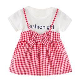 vestiti da partito di cotone per i più piccoli Sconti TELOTUNY Grils Dress Cotton Blend Toddler Kid Baby Girl Fashion Manica corta Plaid stampato Party Princess Dress Abbigliamento Feb25