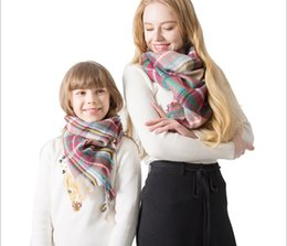 stole patterns Promo Codes - Autumn and winter new pattern of parent-child check scarf triangle scarf cashmere check shawl scarf wholesale 140x140cm