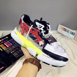 2019 margiela tênis Homem sapatos de couro genuíno Maison New Release Margiela Low-top Fusão Sneakers Colorblock Fusão Leahter Sapatos Moda desconto margiela tênis
