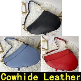 Diseñadores bolsa de correas online-Diseñador de bolsos del bolso de la silla de montar del cuero genuino con el bolso de hombro del metal bolsas colgante de las mujeres de lujo de la correa de hombro vienen con la caja