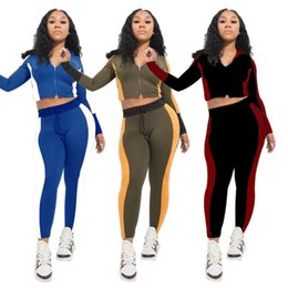 cropped blue leggings Promo Codes - Brand Designer women 2 piece set outfits Long Sleeve Shirt Pants tracksuit sportswear Letter Crop Top Leggings Spring Clothes plus size S-2X