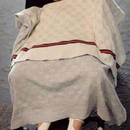 Manta de marca online-INS Baby Blanket FASHION Marca Quality Blanket Summer Beach Carpet Beige Knitting Blanket For Baby 90 * 120CM Envío gratis
