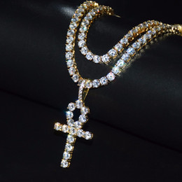 white gold cross necklace set Coupons - Iced Out CZ Key of Life Egypt Pendant Necklace 4mm Tennis Chain Set Gold Silver for Men Hip hop Jewelry