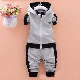 Juego de ropa de bebé de otoño Juego de manga larga para bebés Niños niños Sudaderas con capucha + Pantalón Ropa de bebé Ropa deportiva para niños Ropa para niños desde fabricantes