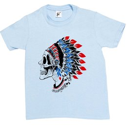 indian style shirt Coupons - Red Indian Skull Chief Wearing Tribal T-Shirt Brand shirts jeans Print Classic Quality High t-shirt Style Round Style tshirt