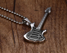 stainless steel guitar slide Promo Codes - Trendy Cool Men Woman Black Blue Gold Electric Guitar Pendant Necklace 316L Stainless Steel Mens Hiphop Rock Jewelry