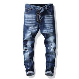 Calças de brim dos homens elegantes on-line-Denim Jeans Homens Designer Marca Reta Skinny Buraco Tamanho Grande Desgastado Toda a Temporada Estilo Casual Calças Elegantes