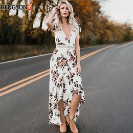 79022ebe1002 Sexy Deep V Neck Backless Dress Women Summer Bohemian Floral Print Maxi  Dresses Lady Hollow Out Irregular Party Dress