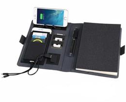 Planificador de cuaderno online-planificador de viajes de negocios portátil NUEVO A5 con el regalo cable de cremallera El soporte plegable del teléfono móvil 6000mAh cargador de corriente