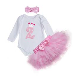 Pink Baby Girls Juegos de ropa de cumpleaños 3 Unids Manga Larga Romper + Tutu Falda Newborn Girls Ropa para Niños Arco Caliente Tul desde fabricantes