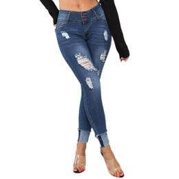 Las mujeres rectas de cintura baja pantalones vaqueros Pantalón de las mujeres elástico más el tamaño de mezclilla bolsillo botón Casual Boot Cut Pant Jean Hole Lápiz de mezclilla desde fabricantes