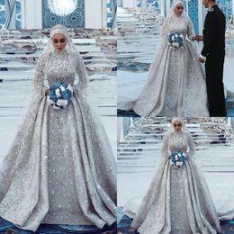 свадебные свадебные платья кружевные мусульманские Скидка 2019 Роскошные мусульманские свадебные платья с высокой горловиной и кружевом Аппликация из бисера Кристалл Скромные свадебные платья Великолепный винтажный Vestidos De Novia