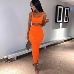 оранжевая юбка Скидка Жилет слинг средней длины для женщин с высокой талией Бедра Longuette без рукавов из двух частей высокой эластичности розовый оранжевый 24 8bl C1