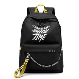 Fuera de viaje online-Hip Hop USB Damas Mochila Off blanco de la manera de las mujeres bolsas de alta calidad grande de Estudiantes Bolsa Casual viaje Mochilas Capacidad