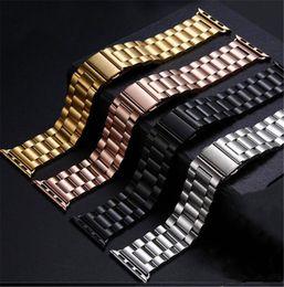 correa de reloj de manzana 42mm Rebajas Correas inteligentes Correa de pulsera de eslabones de acero inoxidable para Apple Watch Serie iWatch Cadena de reloj hermosa 4 colores 38/42 mm