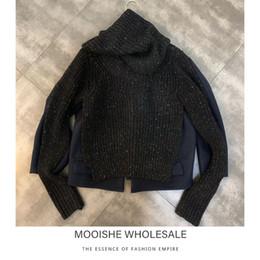 2019 cucitura di maglione di lana 2019 Autumn Stitching Nuova decorativo collare di lana Capo Maglione Trend Donna cucitura di maglione di lana economici