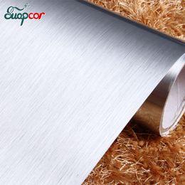 Filme mobiliário pvc on-line-Papel de parede escova de prata 3M autoadesivo metal Remodelado Mobiliário impermeável adesivos de PVC para armário de cozinha Film decorativa