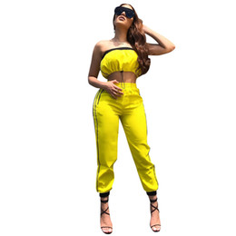 Trainingsanzug gelb xl frauen online-Frauen Anzug Kordelzug Strapless Crop Top Side gestreifte Hosenanzug Gelb Zweiteiler Splicing Outfits Kleidung O-OA6419