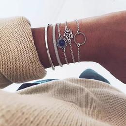 Canada Gracieux rétro Vintage Bracelet en argent pour filles femmes 5pcs par ensemble Muti couche superposable Lotus tournesol Twist Ring Bracelets cheap engagement bangles Offre