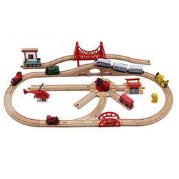 wood cars for kid Promo Codes - Wooden Magnetic Trains Toys Track Railway Vehicles Toys Wood Locomotive Cars pathway for Children Kids Gift