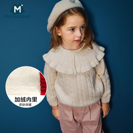 48d3fee42e1a8 Mini Balabala Bébé Cardigan Filles Pull Hiver Printemps Toddler Pulls 100%  Coton Tricoté Enfants Cardigan Veste À Volants Filles P