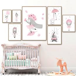 manifesti fiore rosa Sconti Quadro su tela Pittura Rosa Baby Girl Principessa Fiore Vivai Poster e stampe Nordici Immagini per pareti Decorazioni per la camera dei bambini