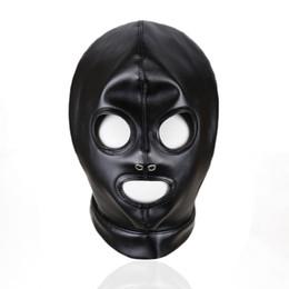 Maschera di catsuit online-Black Catsuit Latex Mask PU Fetish Costume Accessori Lace Up SM Cosplay Head Mask Sexy copricapo del partito