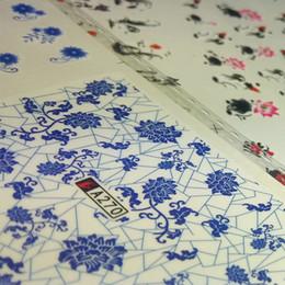 Nail art designs bleu blanc en Ligne-36 Style bleu et blanc en porcelaine porcelaine encre de Chine Designs de décoration Wraps Conseils ** 3pcs Nail Art transfert de l'eau autocollant autocollant décalcomanies