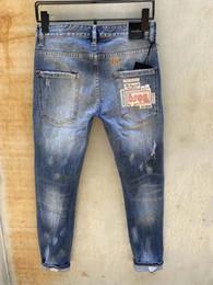 2019 kratzer jeans für männer D2 Neue Ankunft Berühmte Marke Paris Pierre Kleidung Mode Herren Biker Jeans Verkratzt Männer Casual Baumwolle Hosen Blau Für Männer Zerrissene Jeans top günstig kratzer jeans für männer