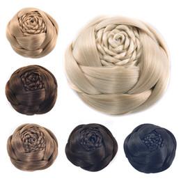 Cordón de plástico trenzado online-Mujeres trenzadas Chignons Bundles Bud Lace Cap Wraps Albóndiga Cabeza Dos peines de plástico Updo cubierta sintética bollos resistentes al calor