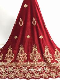 tela bordada de terciopelo rojo Rebajas 2019 de alta calidad de tela de encaje africano vino rojo terciopelo francés neto bordado de lentejuelas tul tela de encaje para nigeriano vestido de fiesta