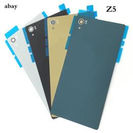 2019 sony xperia z1 pièces Pour Sony Xperia Z5 5,2 pouces couvercle de la batterie en verre arrière + NFC Z5 E6603 E6633 E6653 E6683 logement pièces de réparation de couvercle de porte arrière