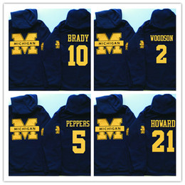 numéros de hoodies Promotion Sweat Mens Michigan Wolverines Personnalisé N'importe quel Nom Numéro Cousu College Football Pull À Capuche Brady Woodson Peppers Howard