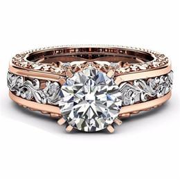 0817de7de823 Romad Big Cryst Rings Rose Gold Color Cubic Zirconia Leaf Crystal Anillos  para Mujeres Joyería de Compromiso de Boda