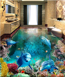 photo sticker wall Promo Codes - 3d pvc flooring custom photo Waterproof floor wall sticker Blue Ocean World Dolphin Coral home decor living room wallpaper for walls 3 d