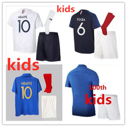 Equipo de uniformes de futbol kit online-Camiseta de fútbol MBAPPE para niños 2018 2019 GRIEZMANN POGBA Fr. equipo nacional PAYET DEMBELE COMAN KANTE camiseta de fútbol uniforme de equipo de fútbol infantil