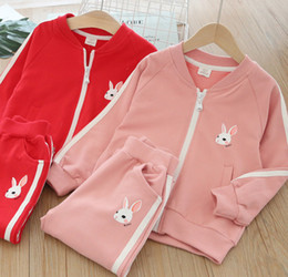 9511601ee2b5 Kids cute rabbit printed sports casual outfits boys girls stripe round  collar long sleeve outwear+double pocket pants 2pcs sets F3659
