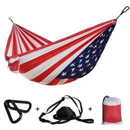 2020 tela de bandera de nylon 1-2 personas al aire libre camping hamaca impresión de la bandera de Estados Unidos paracaídas Tela cama durmiendo Hamak regalo del día de la Independencia Hamac 106 \ * 55 \ rebajas tela de bandera de nylon