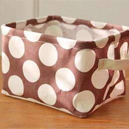 bolsas al por mayor ventana marrón Rebajas Fresco del lunar de algodón y lino cesta del almacenaje de Brown Bolsa de limpieza Cubo Para homeuse bolsa caso Kep Baño