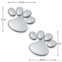 Décalcomanies personnalisées pour voitures de chien en Ligne-Une paire autocollant de voiture Conception fraîche Paw 3D animaux Chien Chat Bear Foot Prints empreinte 3M Decal Stickers voiture Argent Or
