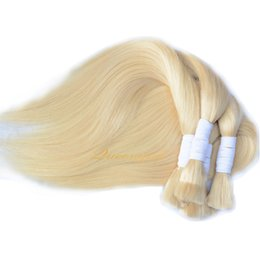 613 hair color braid Promo Codes - Straight Peruvian braiding hair bundles 613 Blonde bulk human hair extensions no weft micro braids natural human hair bulks 3 4 5Pcs product