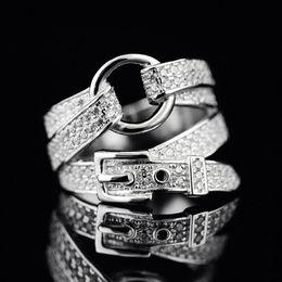 2019 mayoristas de piedra Adjustable Silver Belt Shape Band Ring Crystal Zircon Stone Fashion Jewelry for Women Party Valentine's Day Gift