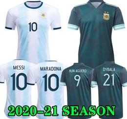 Jersey di qualità del messi online-Top qualità 2020 Argentina calcio domestico Jersey MESSI ICARDI Dybala AGUERO MARIA DI HIGUAIN MARADONA 19 20 Maglia calcio uomo adulto