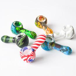 2019 tubo di tabacco piegato nero Tubo di fumo di forma del cucchiaio del silicone di 3,0 pollici Tubo di mano variopinto del tabacco con le vasche di olio del tubo di fumo della ciotola di vetro che spedice liberamente