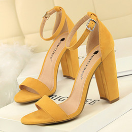 yellow blue shoes high heel Promo Codes - BIGTREE Shoes Women High Heels New Women Pumps Sexy Ladies Shoes Sandals Fashion Block Heels Wedding
