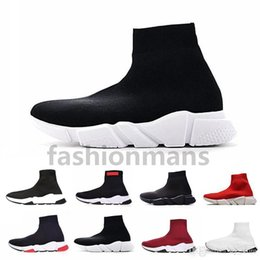 Zapatillas casuales rojas online-2019 Mejor Calidad Entrenador de Velocidad Zapatillas de deporte de diseñador Negro Hombres Mujeres Negro Rojo Zapatos Casuales Calcetines de Moda Zapatillas de deporte Top Boots Size36-45