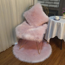 Pelzkissen online-Weichem Plüsch Kaninchenfell Kissenbezug Home Faux Fur Fleece 45 * 45 cm Platz Dekorative Dekokissen Abdeckung Für 2019 Weihnachtsdekoration